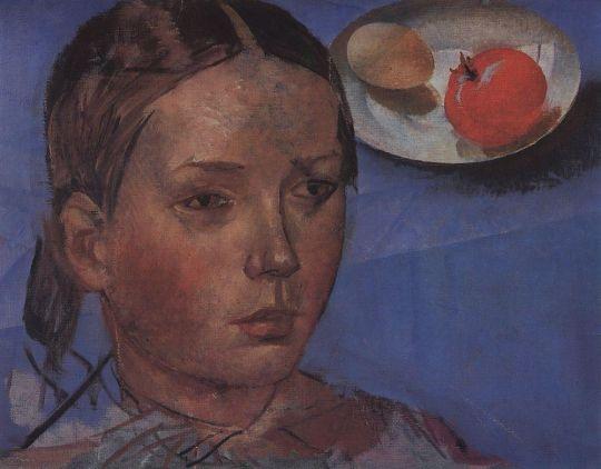 Портрет дочери на фоне натюрморта.