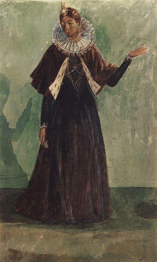 Эскиз костюма Марины Мнишек к трагедии А.С.Пушкина Борис Годунов.