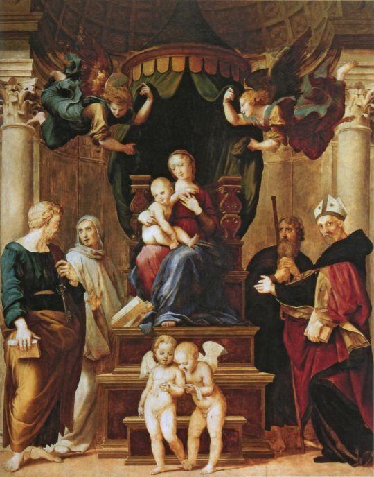 Мадонна с младенцем, святыми и ангелами (Мадонна под балдахином)