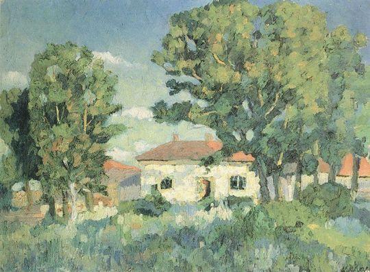 Пейзаж с белыми домами