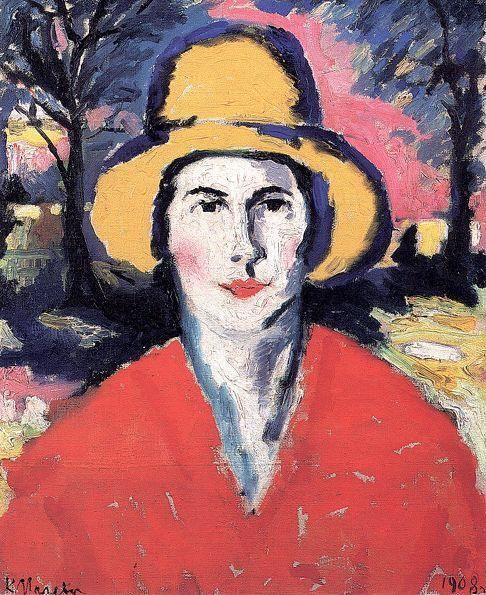 Портрет женщины в желтой шляпе