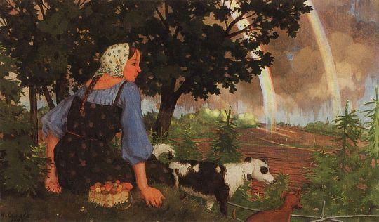 Девушка с грибами под радугой