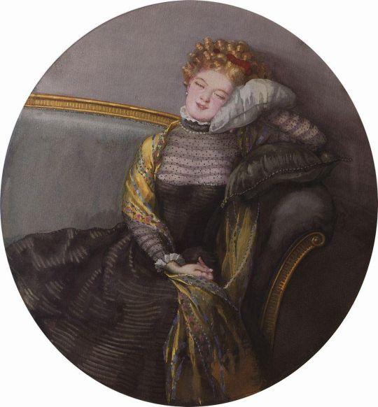 Дремлющая дама в черном платье