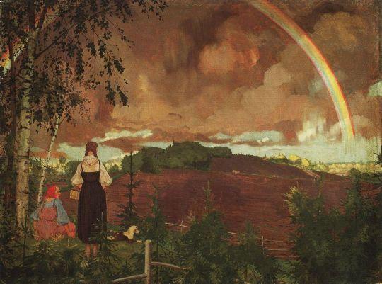 Пейзаж с двумя крестьянскими девушками и радугой