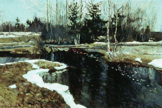 Весенний бурлящий ручей