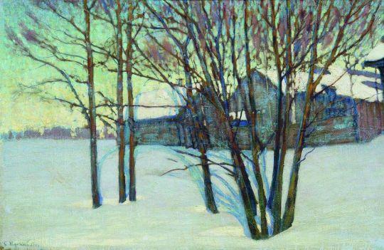 Зимний пейзаж с домом