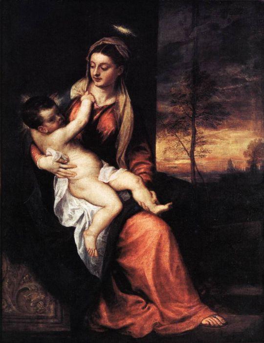 Мадонна с младенцем, вечерний пейзаж