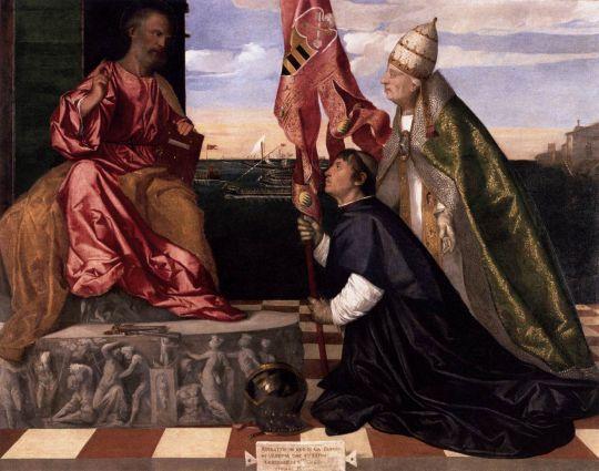 Папа Александр VI Представляя Якопо Пезаро святому Петру
