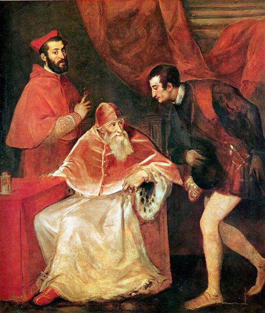Портрет папы Павла III с внуками кардиналом Алессандро и Оттавио Фарнезе