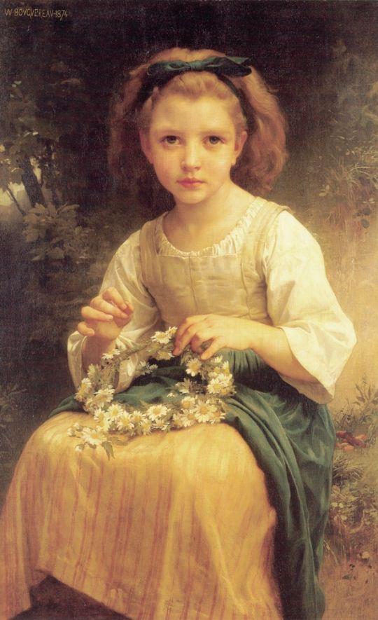 Ребенок, сплетающий венок