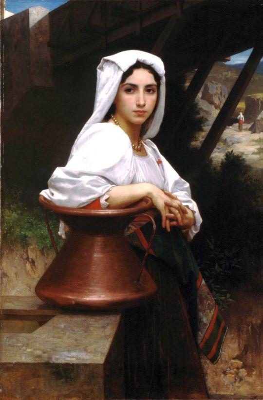 Молодая итальянка, набирающая воду