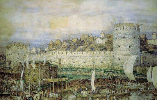 Московский Кремль при Дмитрии Донском ( Вероятный вид на Кремль Дмитрия Донского перед нашествием Тохтамыша в 1382 году ).