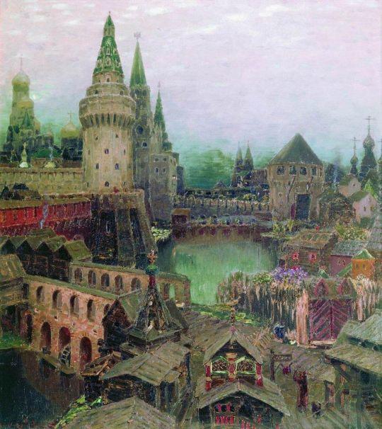 На рассвете у Воскресенского моста. Конец XVII века.