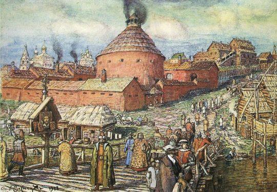 Пушечно-литейный двор на реке Неглинной в XVII век.