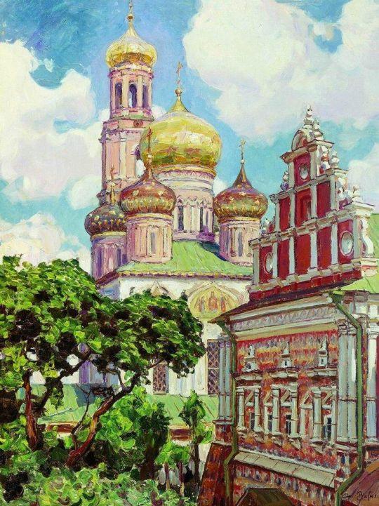 Симонов монастырь. Облака и золотые купола.