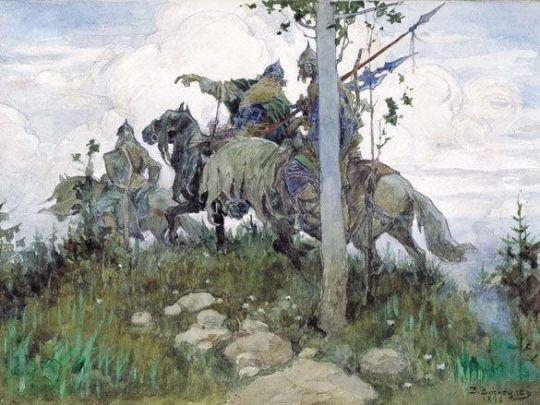 Богатыри на конях.