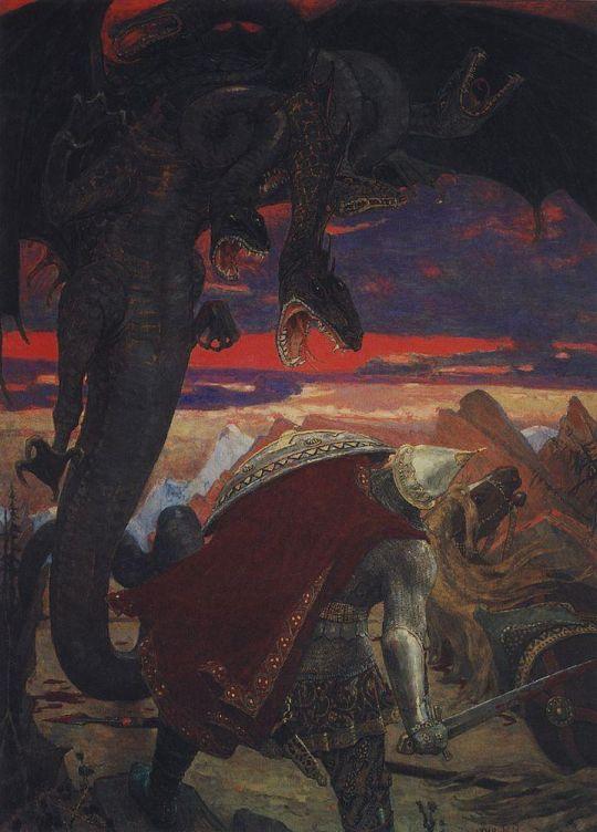 Бой Добрыни Никитича с семиглавым Змеем Горынычем.