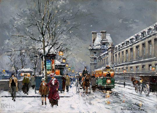 Набережная Лувра под снегом