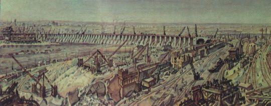Панорама строительства Днепрогэса