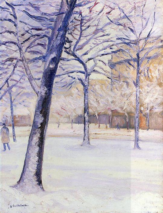 Парк в снегу, Париж