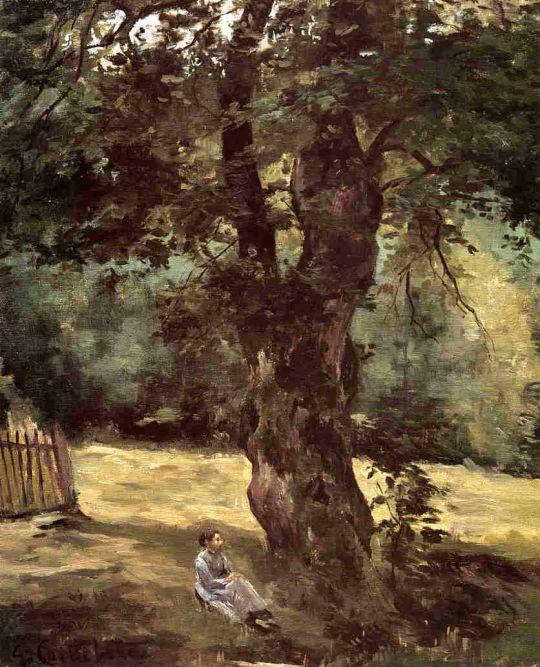 Женщина, сидящая под деревом