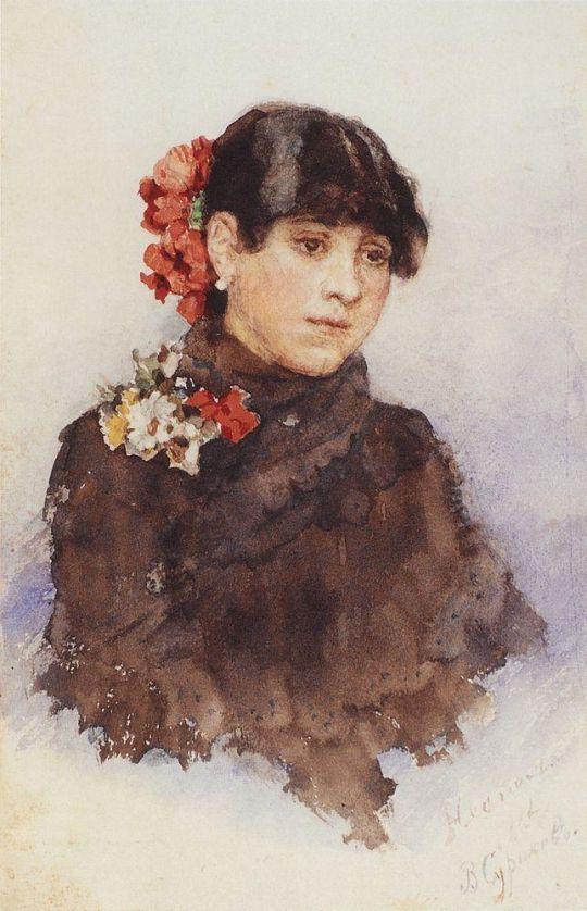 Неаполитанская девушка с цветами в волосах