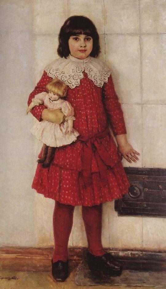 Портрет О.В.Суриковой (в замужестве Кончаловской), дочери художника, в детстве