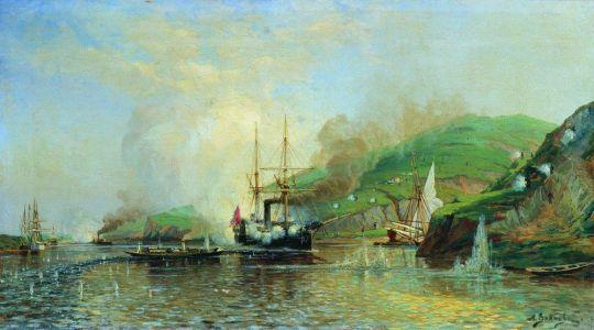 Атака катера Шутка турецкого парохода на Дунае 14 мая 1877 года