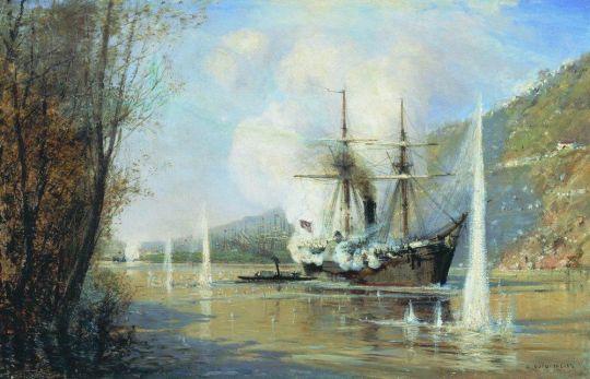 Атака турецкого парохода миноносной лодкой Шутка 16 июня 1877 года.