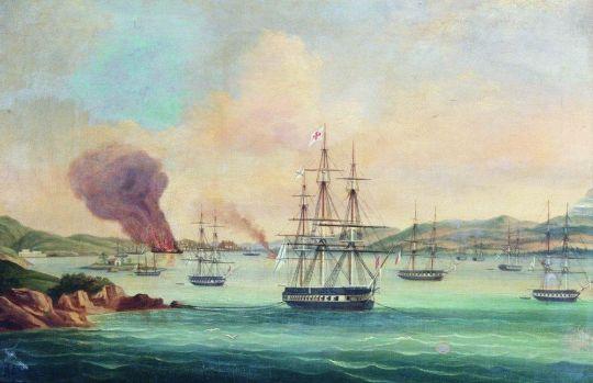 Бой 12-пушечного люгера Широкий с греческим 60-пушечным корветом Скеция в Монастырской бухте (остров Парос) 27 июля 1832 года