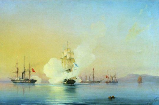Бой 44-пушечного фрегата Флора с тремя турецкими пароходами у мыса Пицунда 9 ноября 1853 года