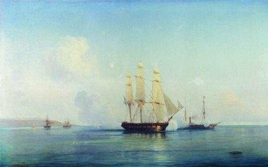 Бой русского брига с турецкими кораблями