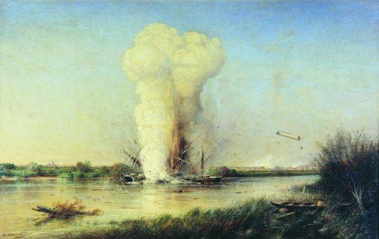 Взрыв турецкого броненосца Люфти-Джелиль на Дунае 29 апреля 1877 года