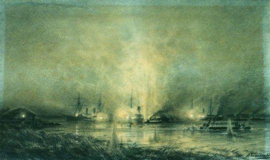 Взрыв турецкого монитора Сейфи на Дунае 14 мая 1877 года