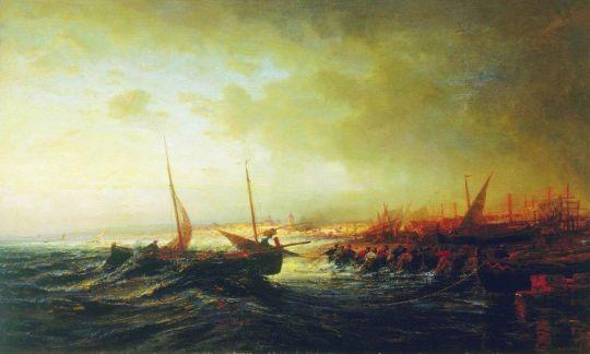 Вид Алласио. Вытаскивание лодки. Италия