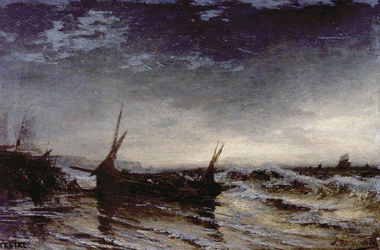 Вытаскивание лодки. Этрета