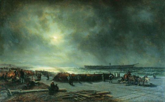 Гибель фрегата Александр Невский (Вид ночью)