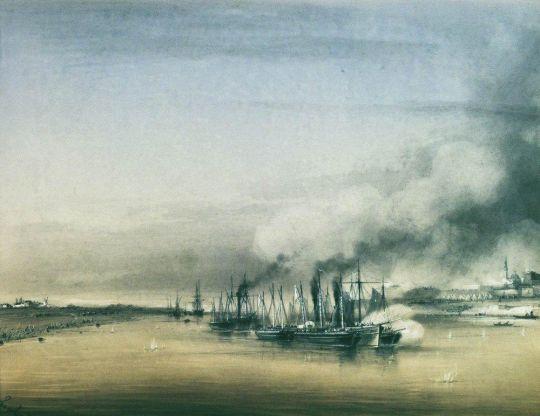 Действия парохода Ординарец и восьми канонерских лодок против крепости Исакчи