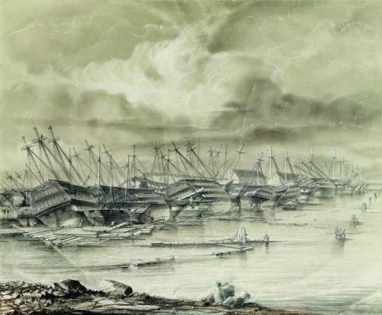 Кронштадтская военная гавань после наводнения