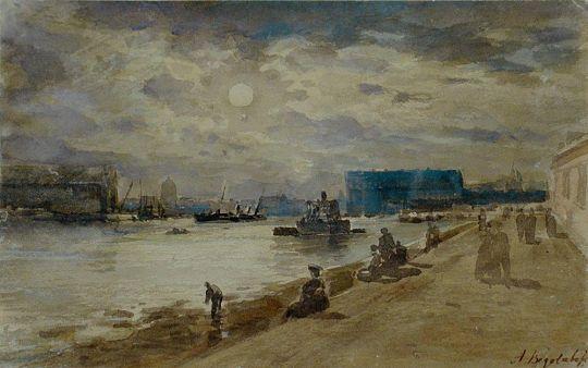 Лунная ночь на реке. Петербург