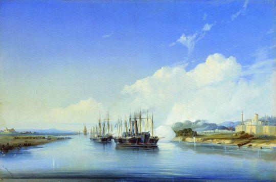 Обстрел пароходом Прут турецкой крепости Силистрия на Дунае 1854 года