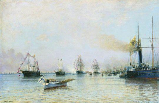 Парад кораблей Балтийского флота по случаю прихода германской эскадры в 1888 году