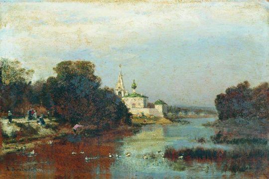 Пейзаж с белокаменной церковью
