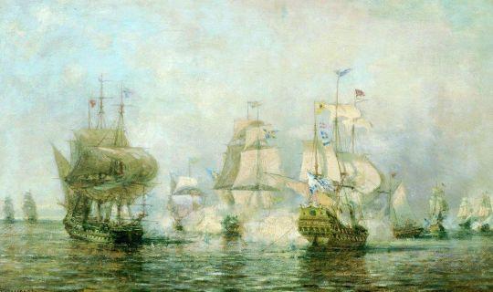 Первое сражение русского корабельного флота под командой Сенявина около острова Эзель со шведским флотом 24 мая 1719 года
