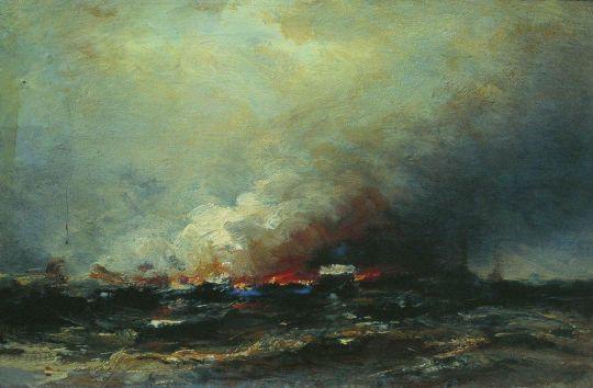 Пожар судов в Кронштадте