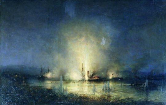 Потопление турецкого монитора Сейфи на Дунае 14 мая 1877 года