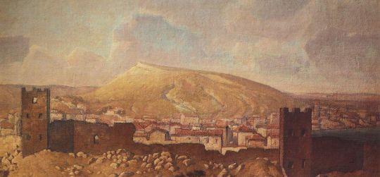 Вид Феодосии со стороны Карантина с развалинами Генуэзской крепости