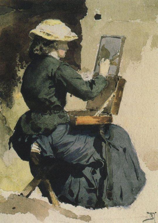 Портрет Н.В.Якунчиковой (Поленовой) за этюдом