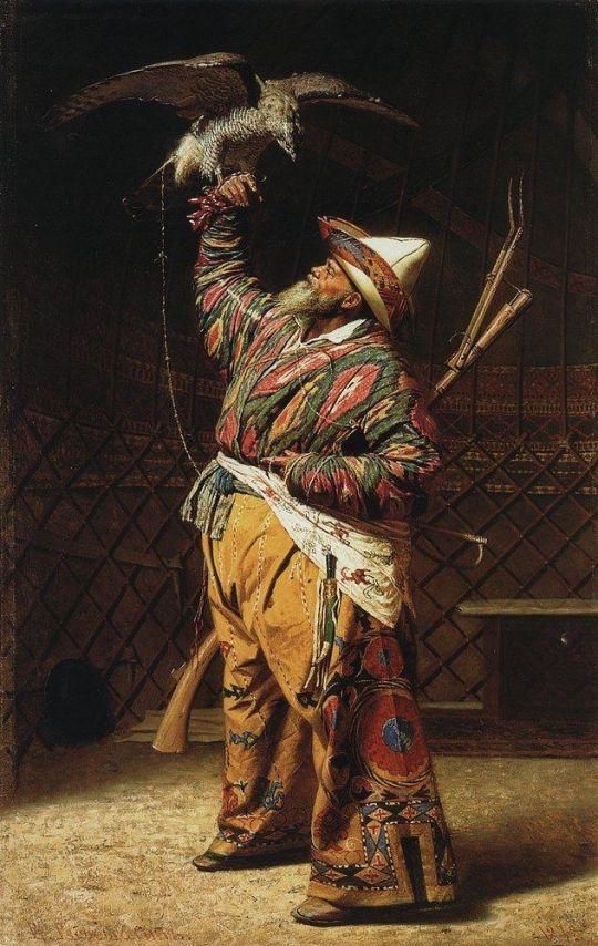 Богатый киргизский охотник с соколом
