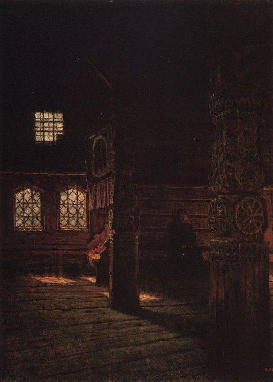 Внутренний вид деревянной церкви Петра и Павла в Пучуге